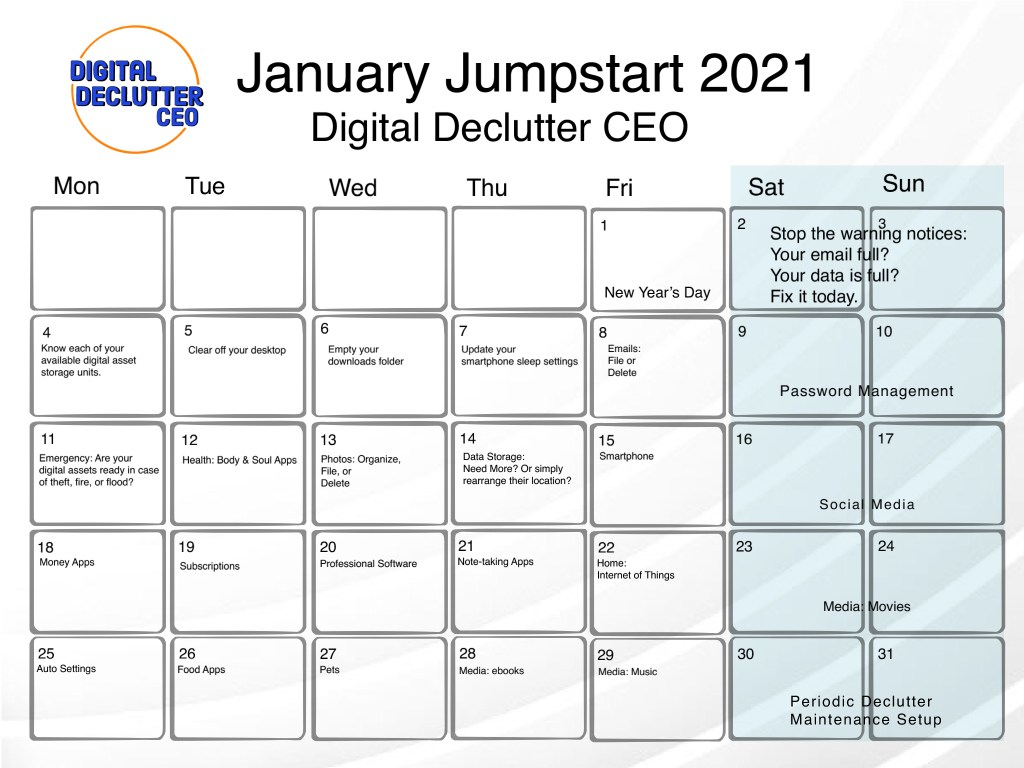 Jan 2021 Digital Decluttering Calendar with each day filled with a different decluttering task.