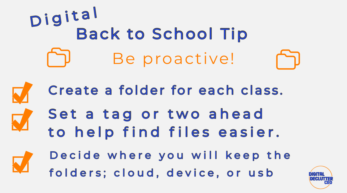 Back to School Tip to be proactive with homework folders