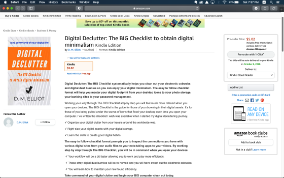 Screenshot of Amazon Kindle page to purchase Digital Declutter: The BIG Checklist to Obtain Digital Minimalism